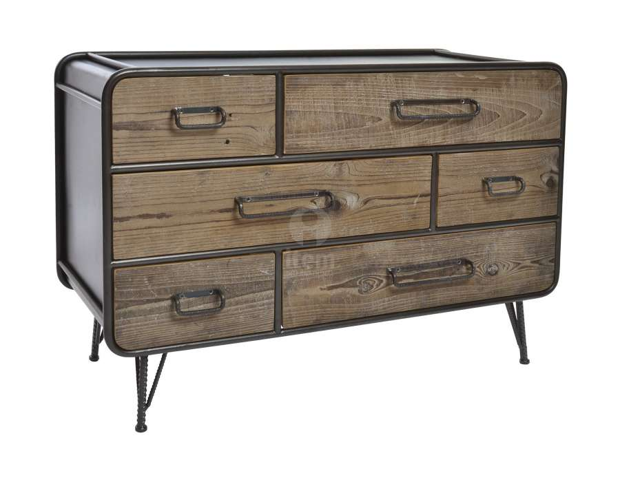 commode industrielle arrondie avec 6 tiroirs bois. Black Bedroom Furniture Sets. Home Design Ideas