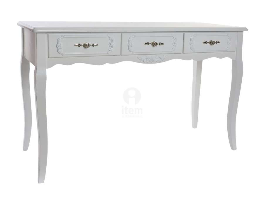 grande console blanche romantique 3 tiroirs pas chere. Black Bedroom Furniture Sets. Home Design Ideas