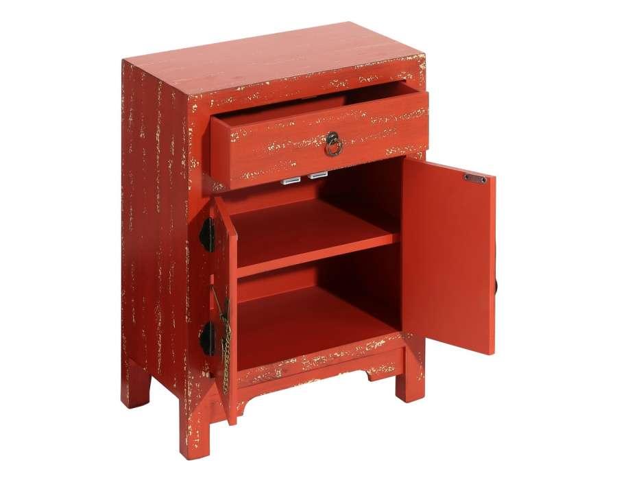 Petit meuble de rangement chinois rouge vieillie meuble for Meuble chinois rouge