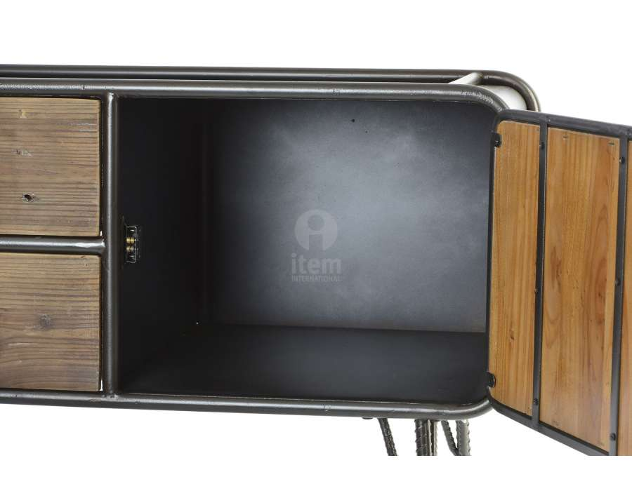 meuble tv vintage 110 cm en bois et m tal industriel. Black Bedroom Furniture Sets. Home Design Ideas