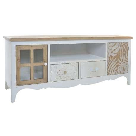 Meuble t l en bois blanc avec des d cors en bois naturel for Meuble tele bois blanc