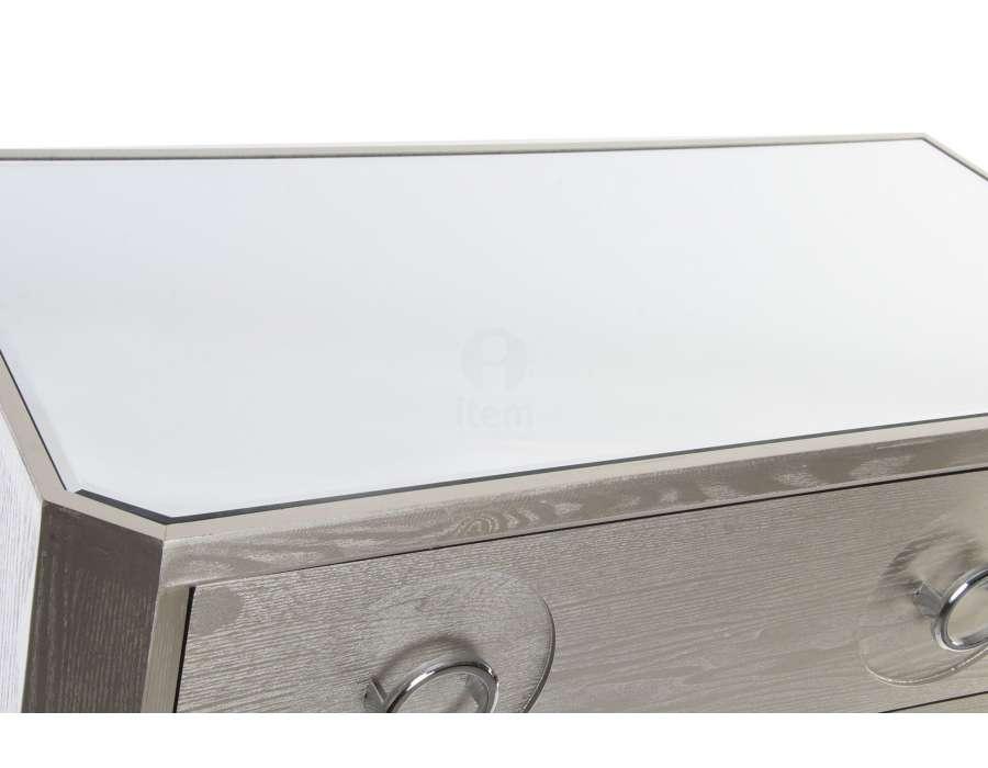 Commode argentée avec miroir moderne