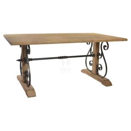 Table 180 cm bois et volutes en métal Amber