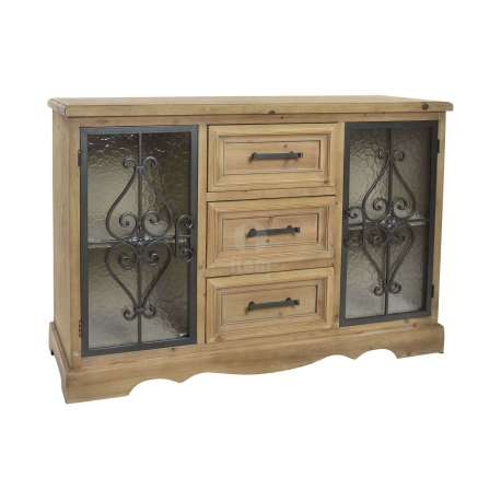 buffet en bois avec fer forg noir rustique. Black Bedroom Furniture Sets. Home Design Ideas