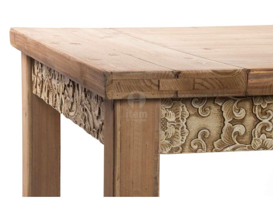 Table 180 cm en bois d cor m tal sculpt for Salle a manger orientale