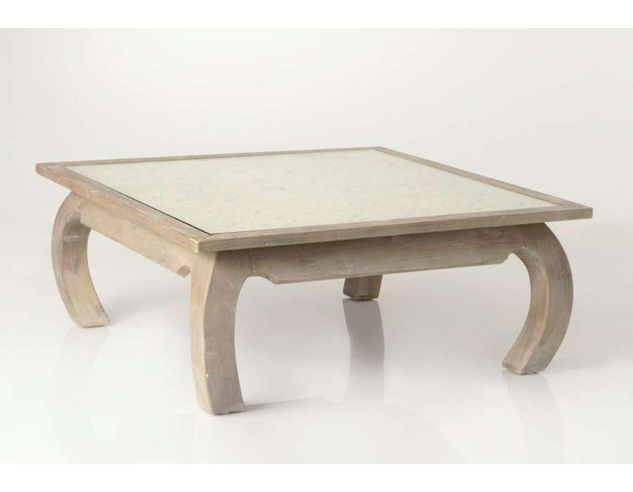Table salon cérusée décor sculptée