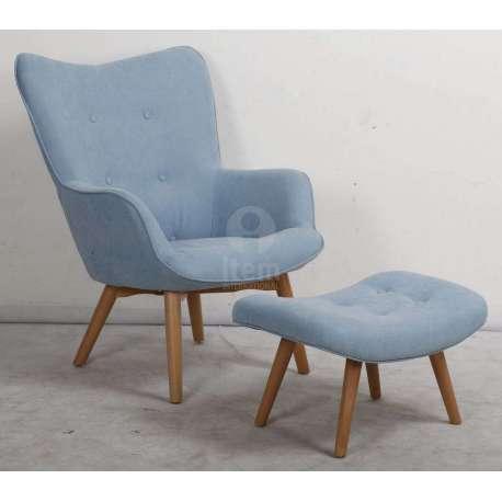 fauteuil bleu ciel moderne avec repose pied. Black Bedroom Furniture Sets. Home Design Ideas