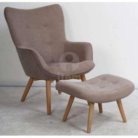 fauteuil taupe clair scandinave avec repose pied - Fauteuil Scandinave Avec Repose Pied