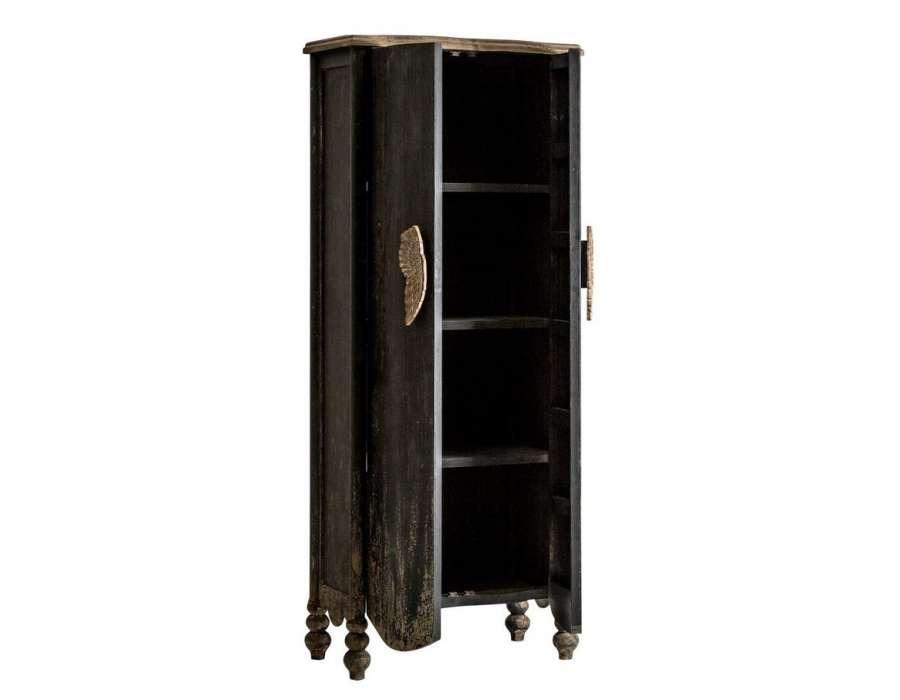 Armoire baroque orientale noire vieillie Ailes