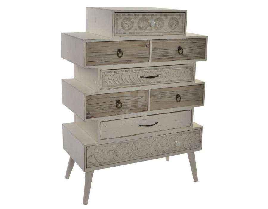 chiffonnier 8 tiroirs d cal s pas cher bois clair. Black Bedroom Furniture Sets. Home Design Ideas