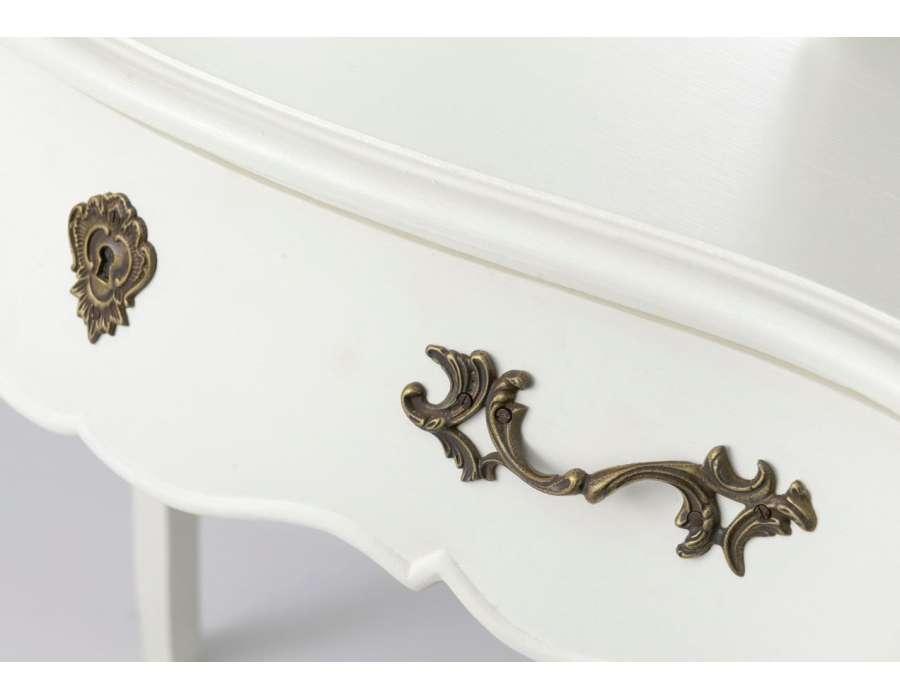 Coiffeuse galb e avec miroir trois volets romantique amadeus for Miroir blanc romantique