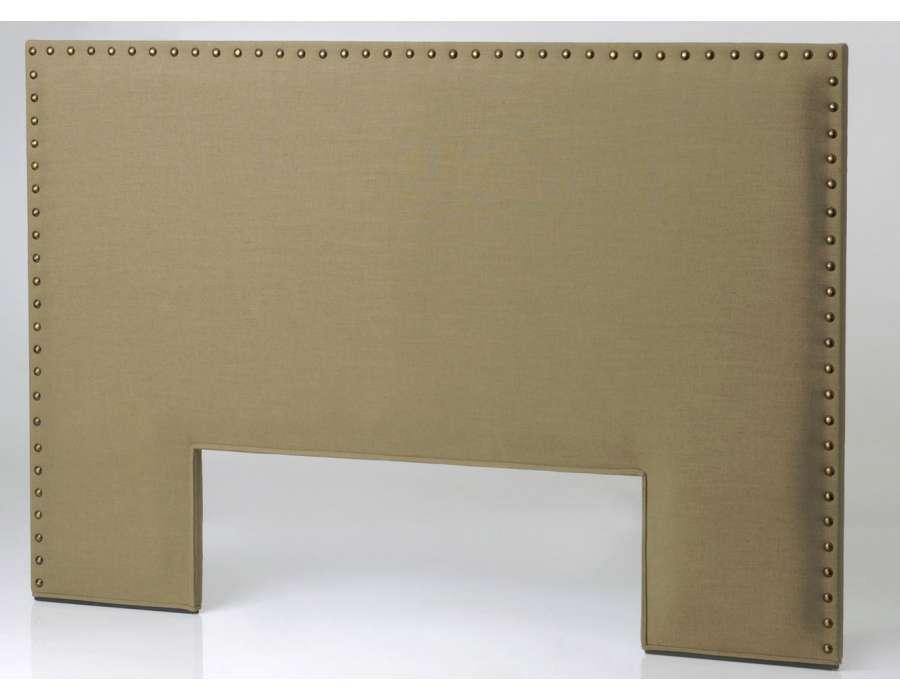 t te de lit 180 cm lisse clout e marron pas chere. Black Bedroom Furniture Sets. Home Design Ideas