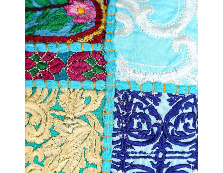 Coussin hippie chic turquoise 60 cm par 2