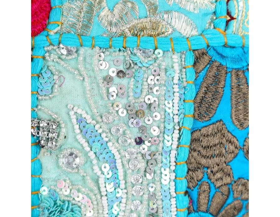 Coussin hippie chic turquoise rectangulaire par 2