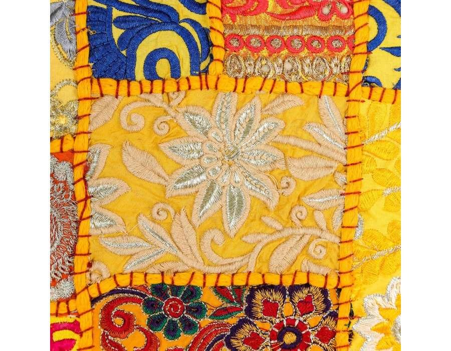 Coussin hippie chic jaune 60 cm par 2