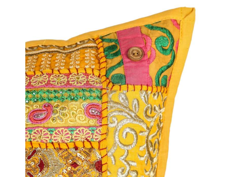 Coussin hippie chic jaune 50 cm par 2