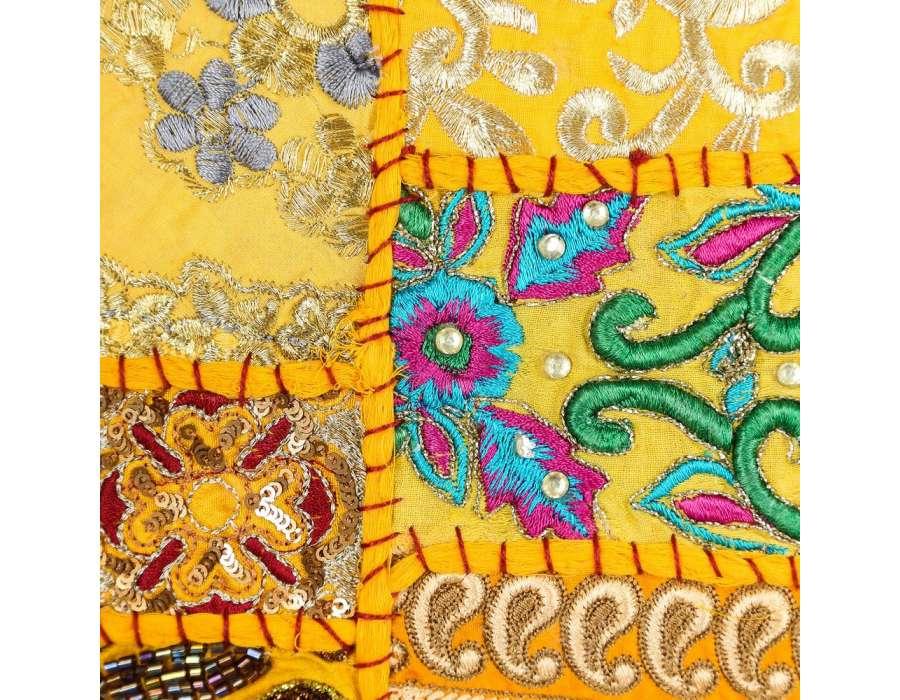 Coussin hippie chic jaune rectangulaire par 2