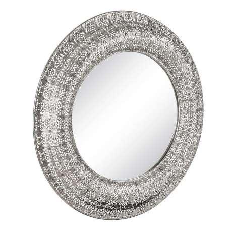 miroir argent rond en m tal de 110 cm. Black Bedroom Furniture Sets. Home Design Ideas