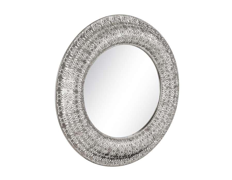 miroir argent rond en m tal de 86 cm. Black Bedroom Furniture Sets. Home Design Ideas
