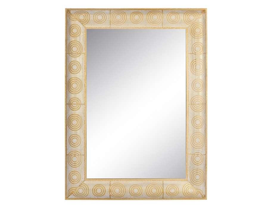 Miroir dor rectangulaire en m tal de 114 cm for Miroir oriental