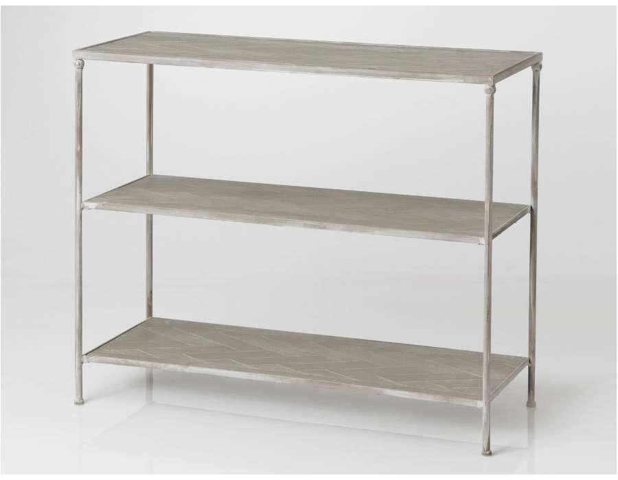 console grise en m tal et bois romantique amadeus. Black Bedroom Furniture Sets. Home Design Ideas