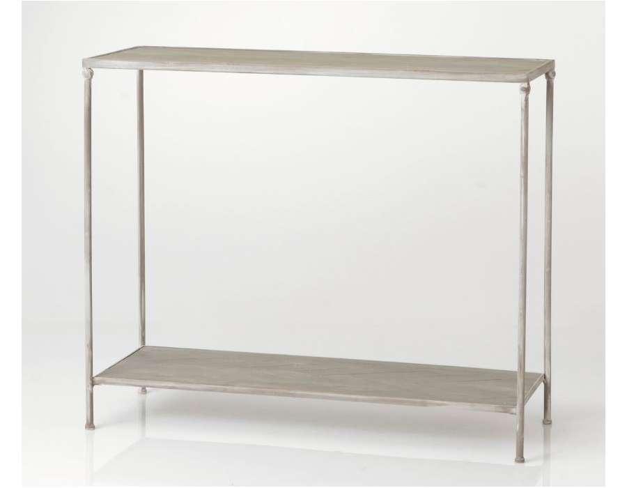 console grise en m tal et bois romantique 2 plateaux amadeus. Black Bedroom Furniture Sets. Home Design Ideas