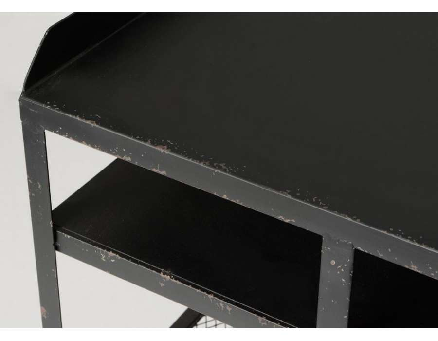 Grand bureau industriel métal noir vieilli avec tiroirs vintage