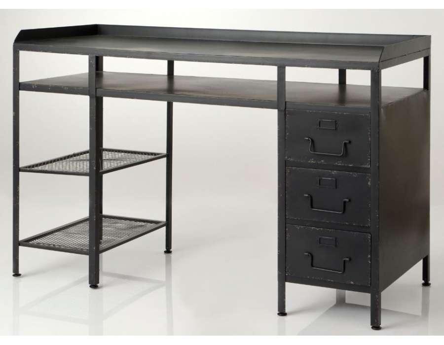 Grand bureau noir vieilli avec tiroirs