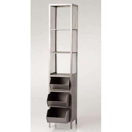 etag re industrielle grise avec casiers amadeus. Black Bedroom Furniture Sets. Home Design Ideas