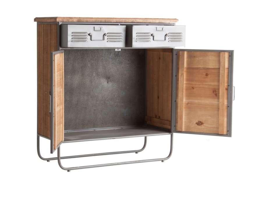 buffet vintage en m tal et bois gris vical home. Black Bedroom Furniture Sets. Home Design Ideas