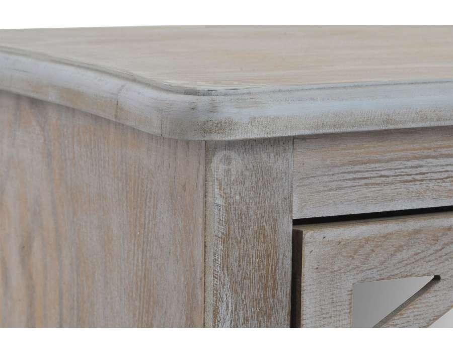 Commode en bois c rus avec des fa ades miroir pas chere for Miroir bois ceruse