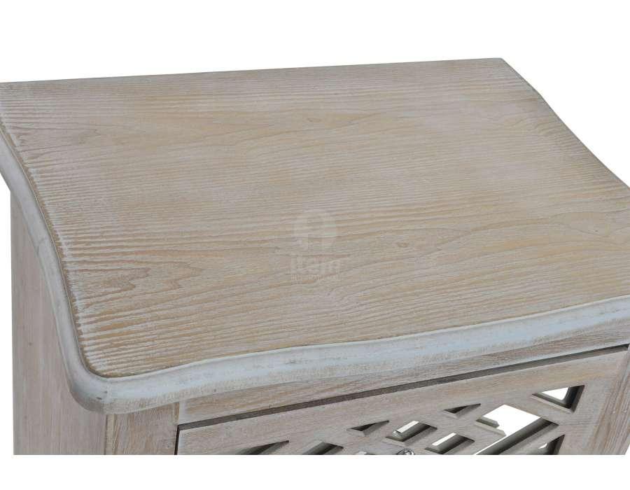 Chiffonnier en bois c rus avec des fa ades miroir pas chere for Miroir bois ceruse