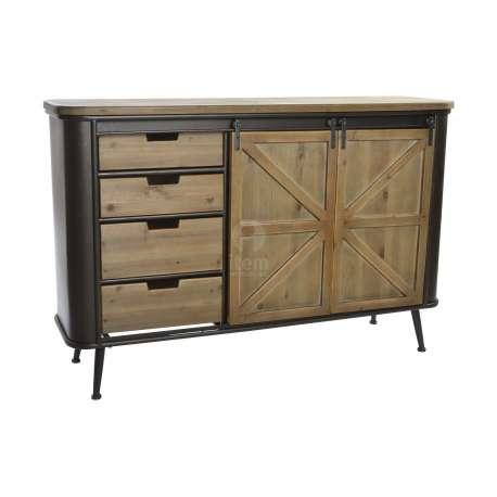 Buffet vintage en m tal avec tiroirs industriel for Meuble a tiroir metal