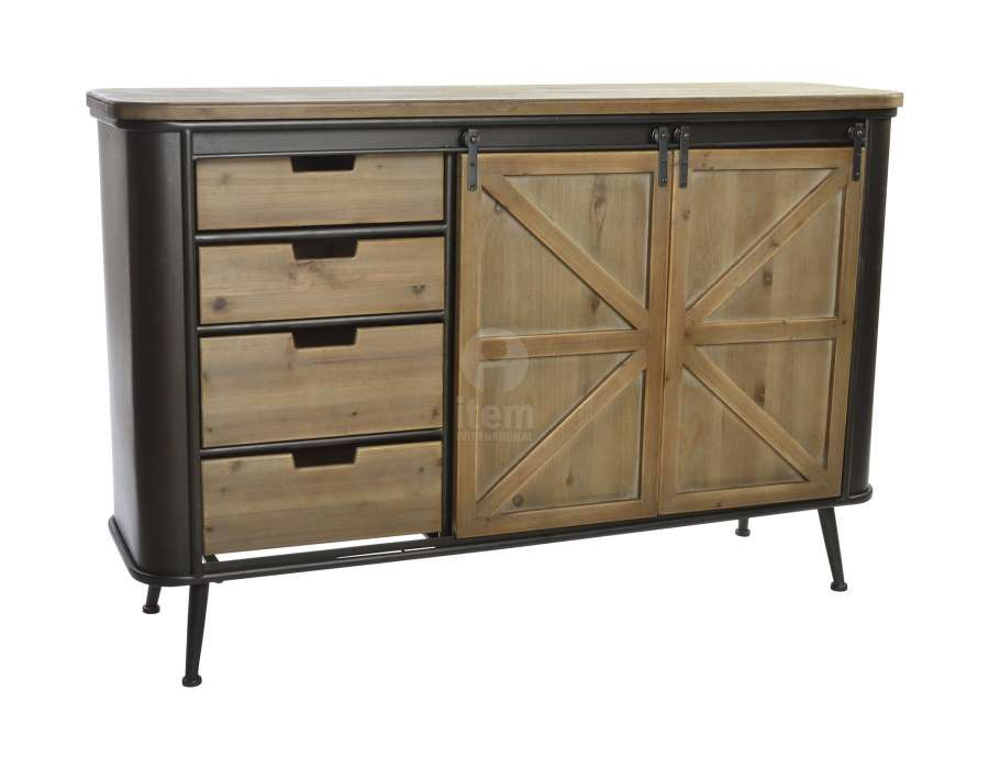 buffet vintage en m tal avec tiroirs industriel. Black Bedroom Furniture Sets. Home Design Ideas