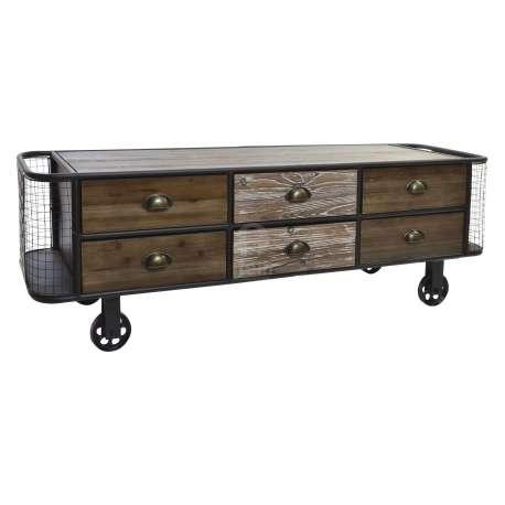 meuble tv vintage 140 cm en bois et m tal industriel. Black Bedroom Furniture Sets. Home Design Ideas