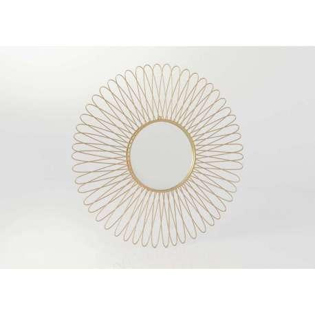 Miroir rond soleil en m tal dor 77 cm amadeus for Miroir rond forme soleil
