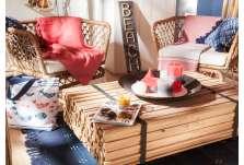 Table basse lames de bois et métal sur roues
