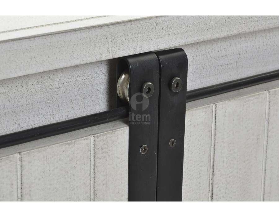 meuble de t l gris blanchi et m tal noir avec portes coulissantes. Black Bedroom Furniture Sets. Home Design Ideas