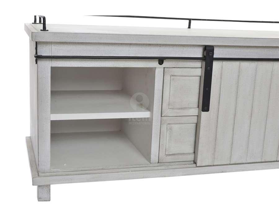 Meuble télé bois gris blanchi et métal