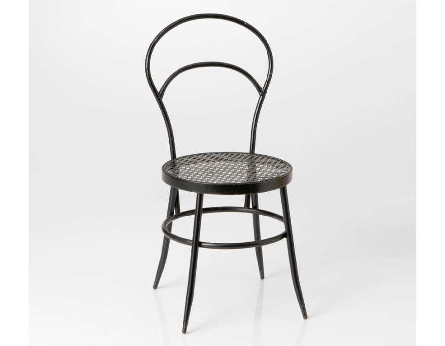 chaise bistrot m tal noir galb e industriel amadeus. Black Bedroom Furniture Sets. Home Design Ideas