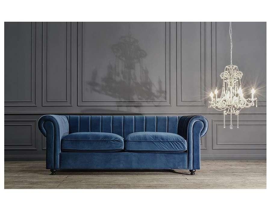 Grand canapé velours bleu chic