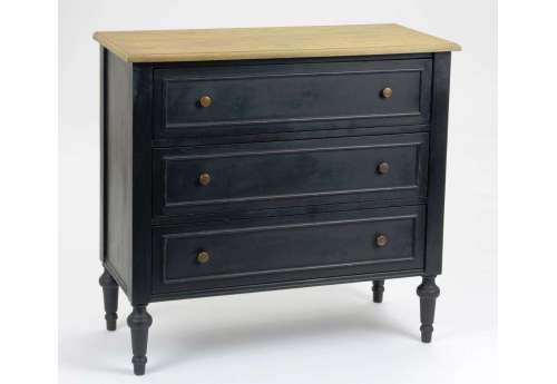 Commode noire 8 tiroirs Bruges