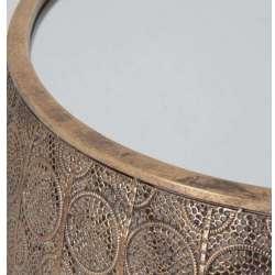 Table basse orientale métal doré et miroir