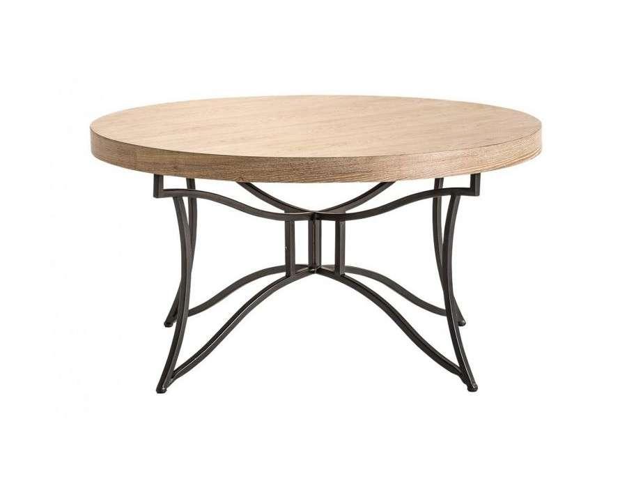 Table basse ronde bois et métal chic