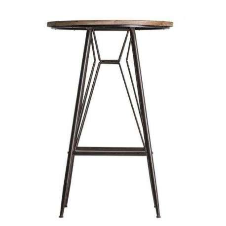 Table Bar Industrielle Ronde Metal Et Bois Vical Home