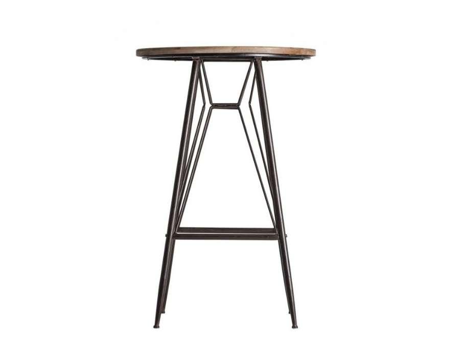Table de bar ronde métal et bois industrielle