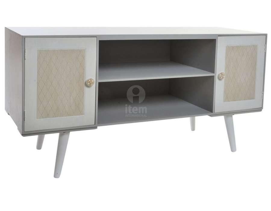 meuble t l gris moderne avec deux placards et 2 niches. Black Bedroom Furniture Sets. Home Design Ideas