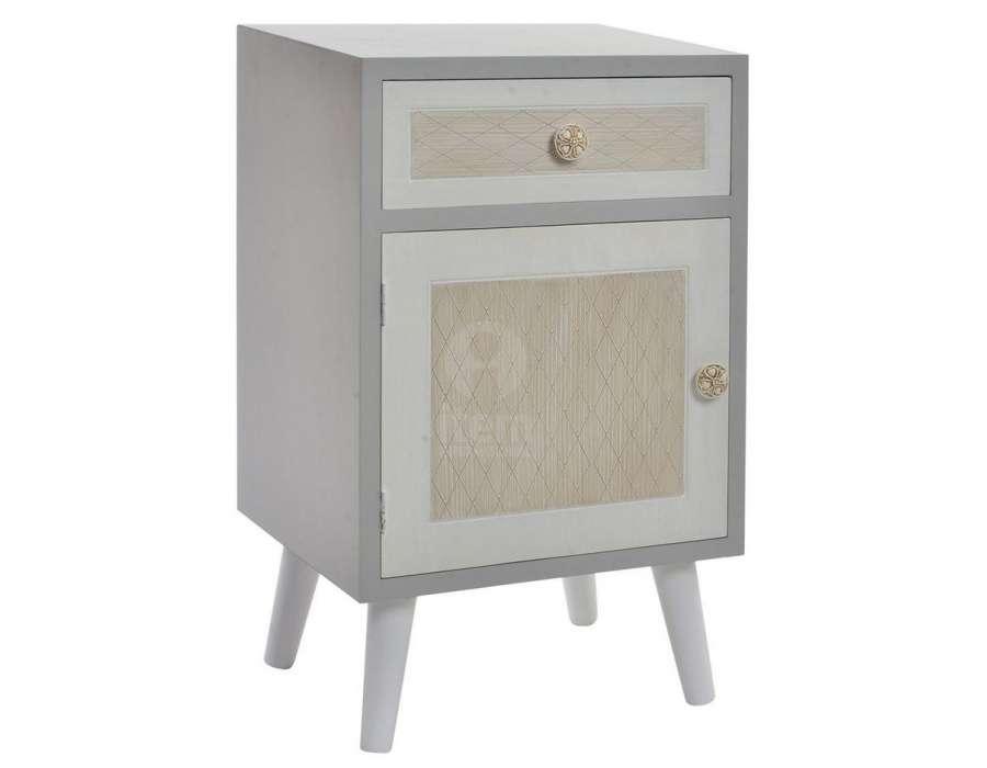 chevet gris 1 porte et 1 tiroir moderne pas cher. Black Bedroom Furniture Sets. Home Design Ideas
