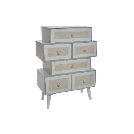chiffonnier gris 6 tiroirs d cal s ou table chevet gris moderne pas cher. Black Bedroom Furniture Sets. Home Design Ideas