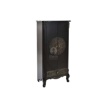 Armoire sculptée 4 portes noire Kasur